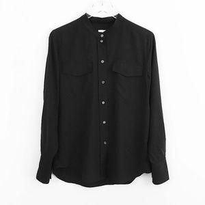 J Crew silk collarless blouse